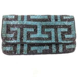 Forever 21 black and teal beaded clutch purse